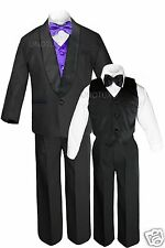 Boys Satin Shawl Lapel Suits Tuxedos EXTRA Purple Bow Tie Vest Sets Outfits S-18