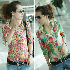 Vintage Women Shirt Colorful Floral Print Turn-down Collar Chiffon Blouse Tops