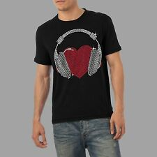 Men's Heart Headphones Rhinestone Diamante Crystal T Shirt