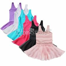 Girl Kid Dance Dress Ballet Tutu Leotard Skate Skirt Dancewear Clothing SZ 2-14