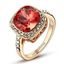 Crystal Ruby Finger Cocktail Ring 18K Gold GP Fashion Jewelry Hot R241
