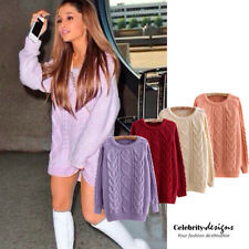 kn97 CFLB Winter Women's Vintage Long Sleeve Cable Knit Sweater Jumper Pullover