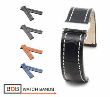 BOB Marino Alligator Deployment Strap for Breitling, 20 & 22 mm, 4 colors, new!