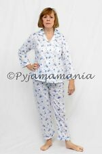 Pyjamas Ladies Long 2pc Pjs Set (Sz 12-20) Blue Flowers Sz 12 14 16 18 20 22