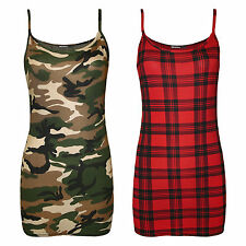 H11C Ladies Womens Army Camouflage Tartan Skull Rose Cami Vest Tank Top SM ML