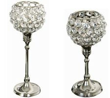 Nickel Crystal Tea Light Holders 20 or 24cm. Excellent Wedding Table Decoration!