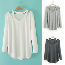 New Popular Casual Womens Off Shoulder Long Sleeve V Neck Tops T-shirt Blouse