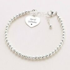 Gift for Godmother, Sterling Silver Bracelet with Engraving, Delicate 4mm beads.