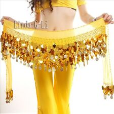 Belly Dance Hip Scarf waistband belt skirt Gold Coins Chiffon Sequins 2/4