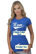 Neon MOM Text with Baseball Style Women's T-Shirt