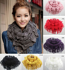 New Warm Women Infinity 2 Circle Cable Knit Cowl Neck Long Tassel Scarf Shawl