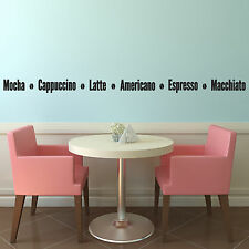 Coffee Names Decal - Kitchen Wall Stickers for Coffee Lovers / Coffee Shop