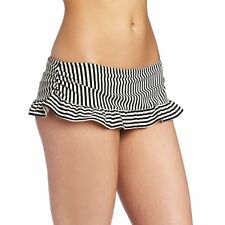 KAMALIKULTURE Women's Striped Ruffle Bottom Black/Off White Stripe