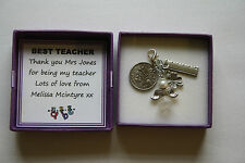 PERSONALISED Lucky Charm Keepsake for TEACHER Thank You Sixpence GIFT BOXED