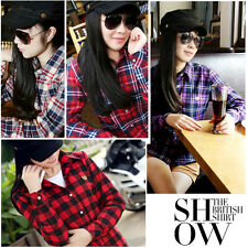 Womens Fashion Button Down Lapel Casual Warm Shirts Plaids Tops Flannel Blouses