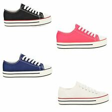 Women's Fashion Thick Chunky Platform Sole Lace Up Low Top Canvas Trainer