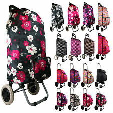 Womens Girls Quality Wheeled Shopping Trolley Floral Polka Dot Holdall Pully Bag