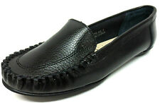 SALE LADIES SPOT ON BLACK LEATHER MOCCASIN STYLE SLIP ON ROUND TOE SHOES F8876