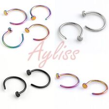 2pcs 20G Surgical Steel Nose 8MM Open Hoop Ring Non Piercing Fake Illusion