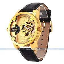 Luxury Men Gold Transparent Tourbillon Skeleton Mechanical Analog Wrist Watch