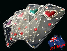 Apple iPhone 5 5S SE Lady Women Girl Heart Crystal Bling Diamond Hard Case Cover