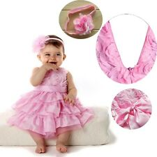 Baby Girls Kids Infant Outfit Tutu Skirt Bow Dress+Flower Headband Clothes 6M-2Y