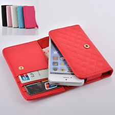 Fashion Universal Wallet Card Strap Flip PU Leather X Pouch Cover Case For Phone