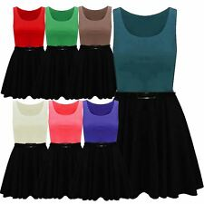 New Womens Plus Size 2 In 1 Color Block Belted Flared Skater Party Dress 16-26
