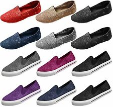 Womens Glitter Lace Slip On Shoes Flats 5 Colors