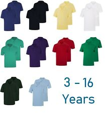 Boys Mens Plain Polo T-Shirt School P.E Sports GYM Ages 3-15 & S-3XL