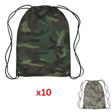 x10 Camouflage Drawstring Bag Backpack - Choose from Green and Digital Camo