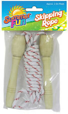 CHILDRENS SKIPPING ROPE, WOODEN HANDLED GREAT OUTDOOR ACTIVITY, FITNESS
