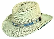 NWT Men's SCALA PRO GOLF Gambler-Style Summer Hat Natural Toyo Straw UPF50+