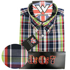 Warrior OiOi7 Short Sleeve Button Down Shirt CRAIG Mod Skinhead Blue Red Green