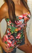 HAWAiiAN TROPiCAL FLORAL SEXY STRETCH SHELF BRA CLEAVAGE LONG TUBE CRUiSE TOP