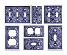 Light Switch Plate outlet Wall Cover Plate ~ Blue Italian Tile IV looking image