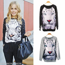 Women Lady Rivet Long Sleeve Pullover JUmper Top Relax 3D Tiger Fashion
