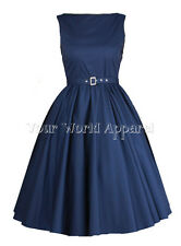 HEPBURN STYLE PLUS SIZE NAVY BLUE DRESS 50s ROCKABILLY EVENING PINUP PROM RETRO
