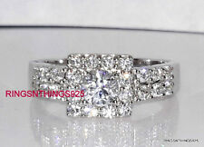 Sterling Silver 925 Stunning Round Cut Clear CZ Square Ring Sizes 5,6,7,8,9