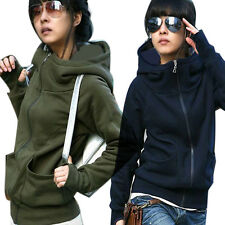 Casual Women Hoodies Sweatshirt Coat Jacket High Tie Zipper Hooded Outerwear AC1