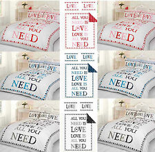 "Set Couette Simple Double King ""All You Need Is Love"" Noir Bleu Rouge Pas Cher"