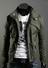 Men Pure Military Style Slim Fit Stand Collar Black Jacket Zip Button Hoodie