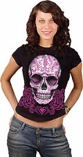 Gothic Candy Skull Pink Roses Oversize Graphic T Shirt Girly Womens Small to 3XL