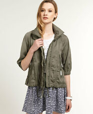 New Womens Superdry Silk Route Bomber Jacket Dusky Olive Green