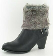 Ladies Spot On Black Ankle Boots Faux Fur Cuff & Buckle Detail Style F50026
