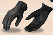 Women's Black Leather Motorcycle Gloves