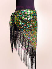 Belly Dance Peacock Hip Scarf Belt Sequins Tribal Fringe Triangle Shawl 3 colour