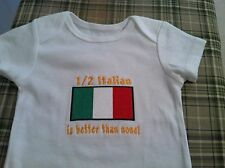 1/2 Italian is better than none! Italy Flag. Carter's Baby Bodysuit Embroidery