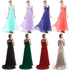 Womens Bridesmaid Shiny Embellishment Maxi Dresses Evening Party Prom Gown