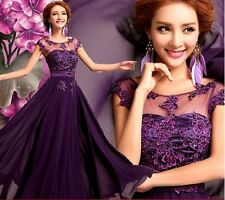 New Formal Wedding Prom Party Bridesmaid Evening Ball Gown Dress - Purple LF174